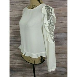 Zara Basic Ivory Top with Lace Trim Ruffle Sleeves